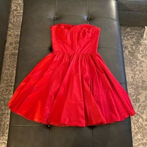 Beautiful a-line red satin dress